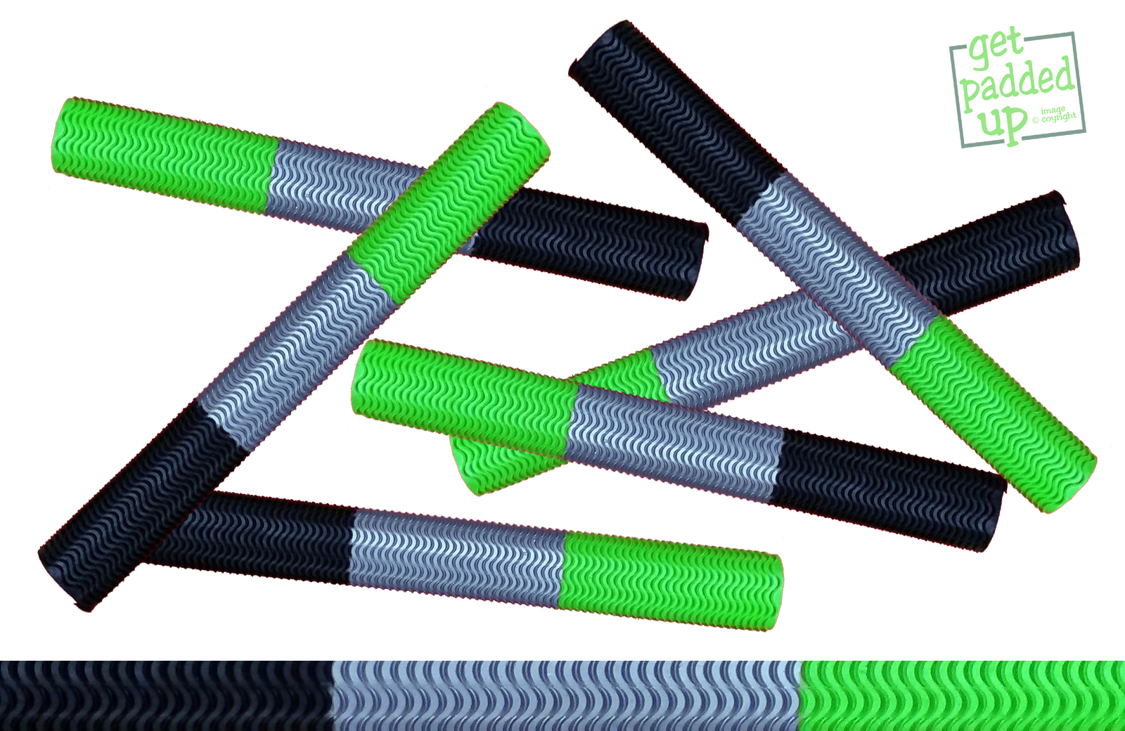 getpaddedup AQUA WAVE CRICKET BAT GRIP (BLACK / SILVER / LIME GREEN)